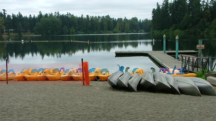 Shoreline beach open for swimming