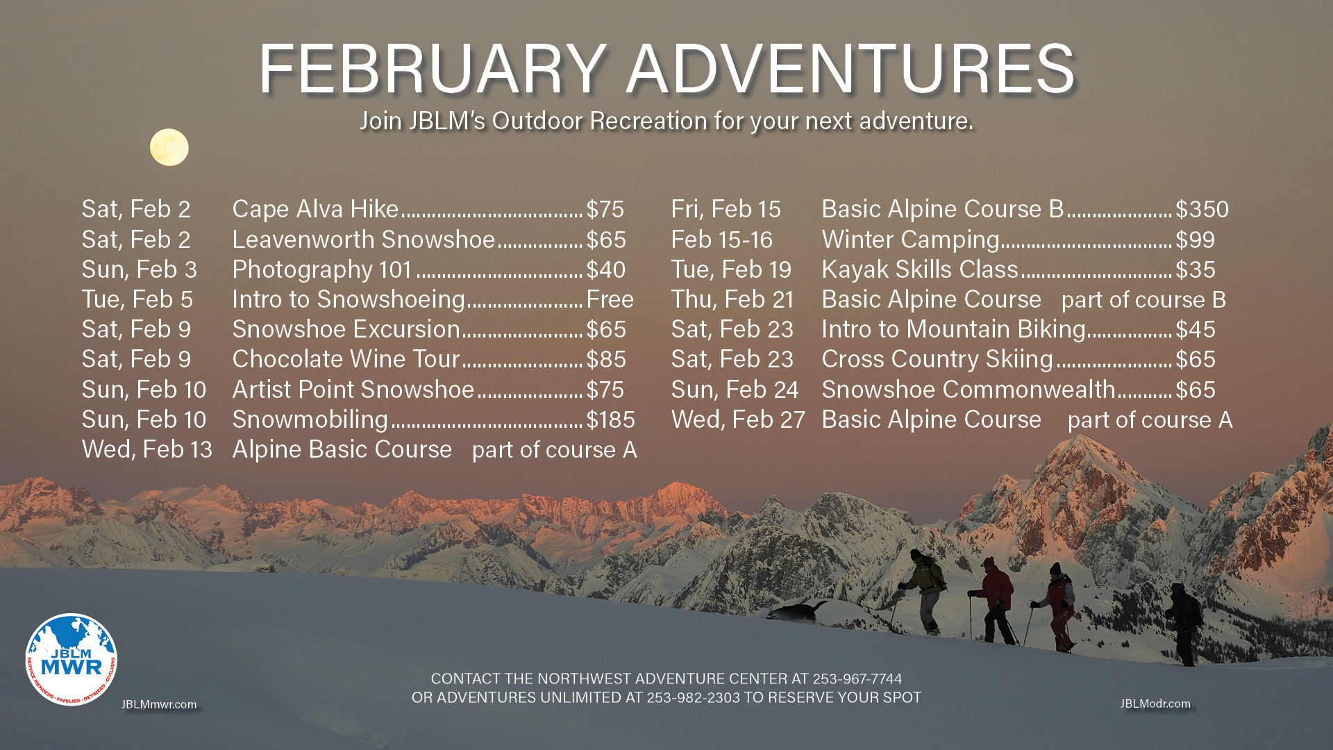 Outdoor Rec February Trips