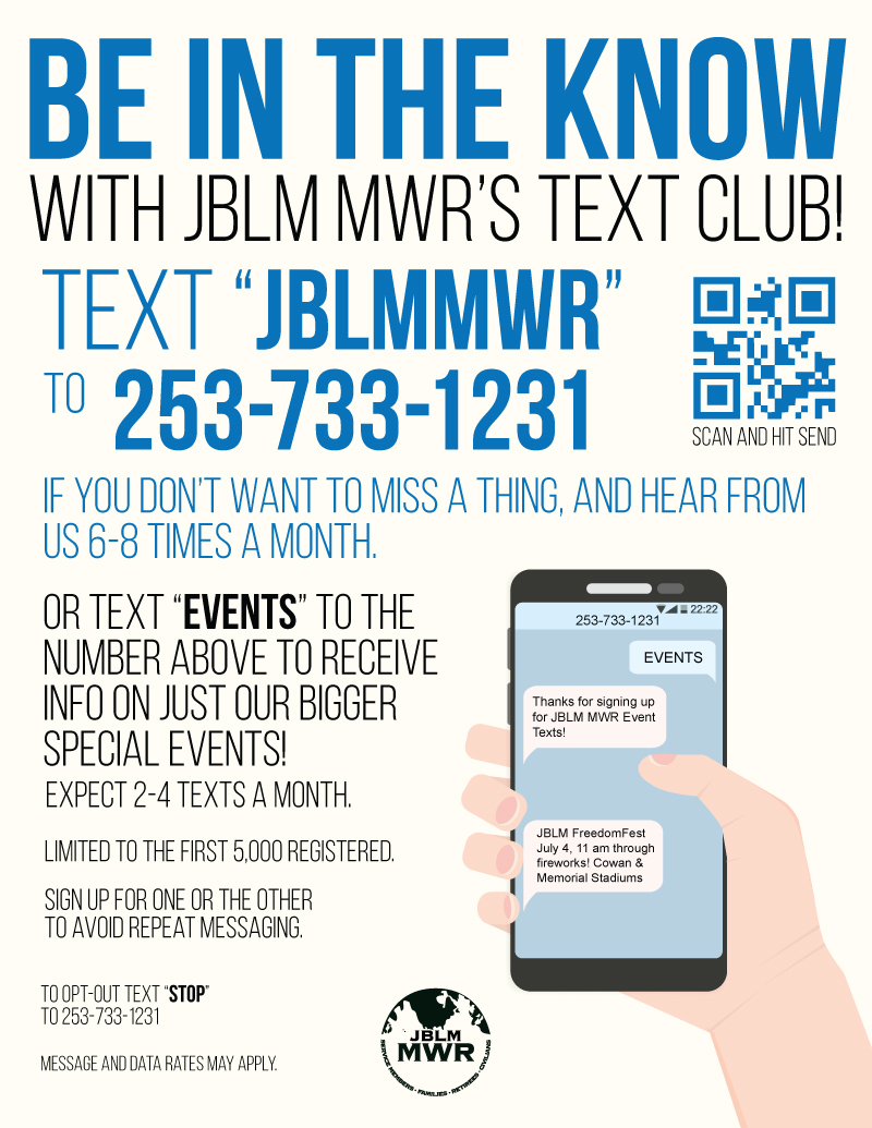 Be in the know with JBLM MWR's Text Club!