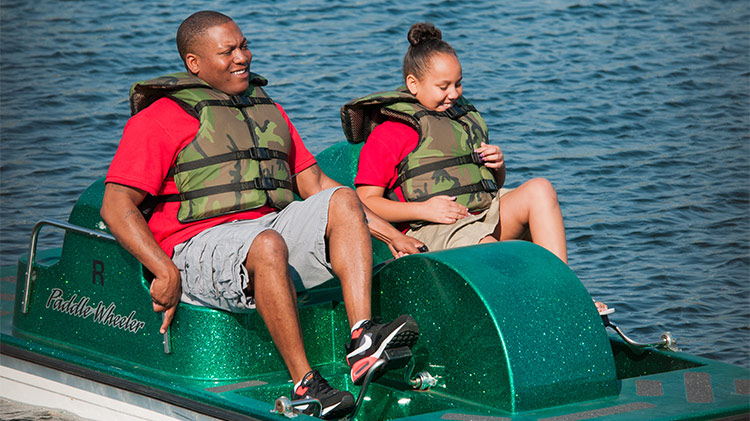 Paddle boats, canoes and kayaks for rent