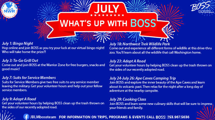 BOSS July Calendar of Events