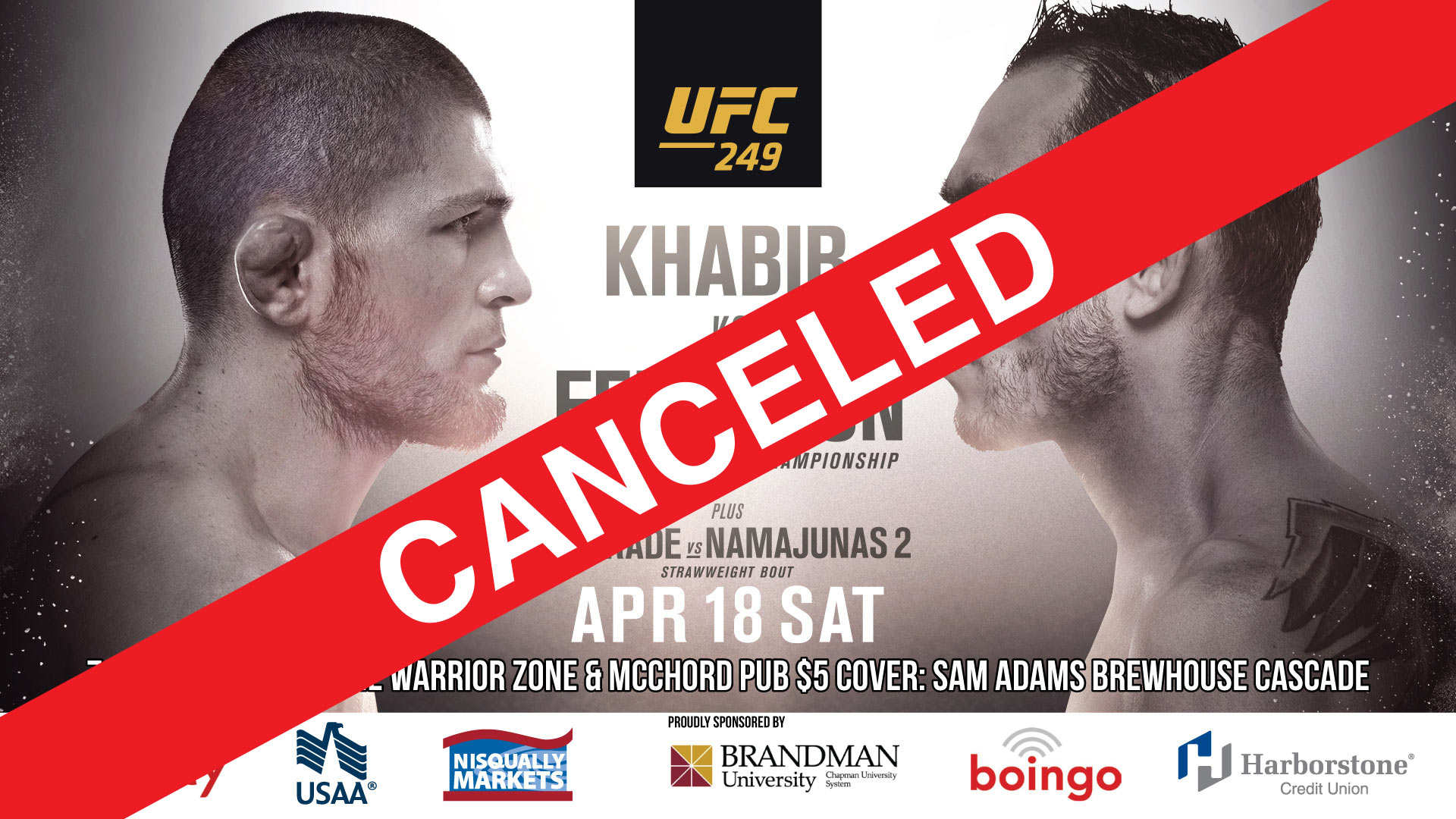 UFC 249 CANCELED