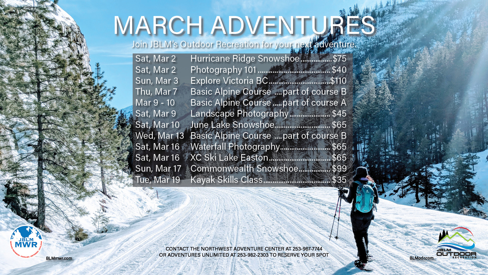 Outdoor Rec March Trips